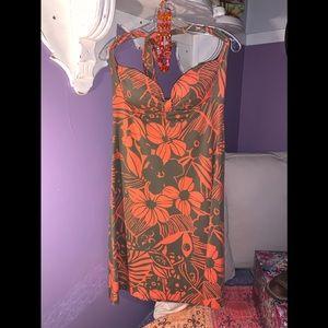 Tommy Bahama Halter Dress -M Orange & deep khaki
